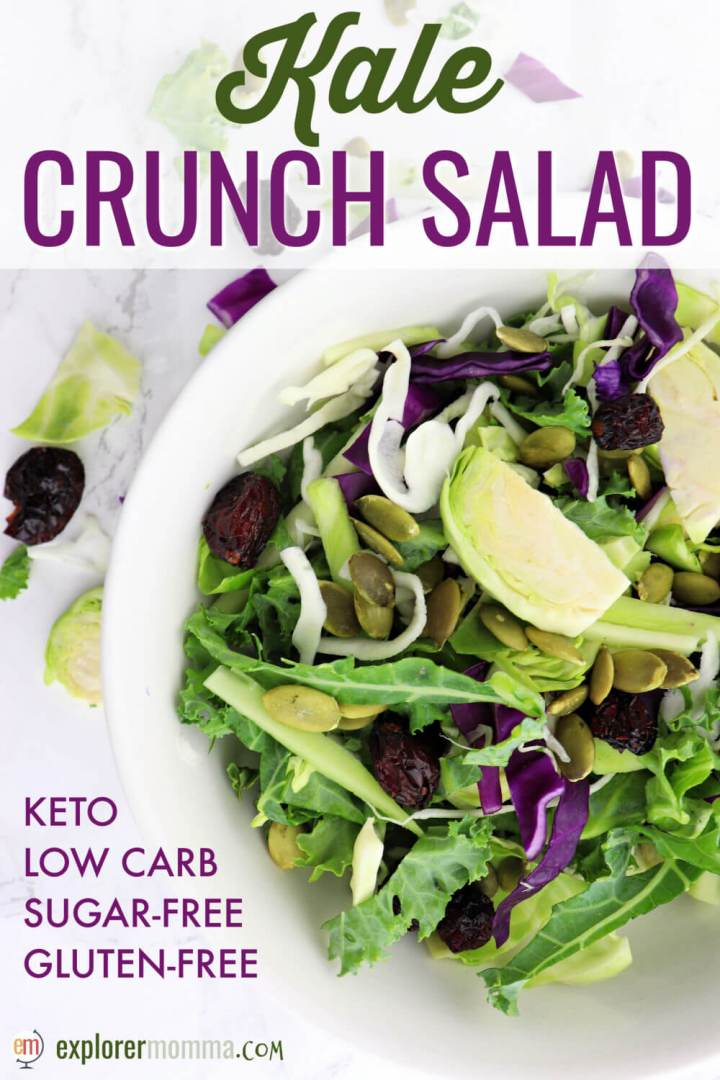 Kale crunch salad is a refreshing low carb side perfect for a keto diet. Sweet yet sugar-free, pumpkin seeds and dried cranberries make it a popular holiday salad. #kalesalad #ketosalad #lowcarbsalads