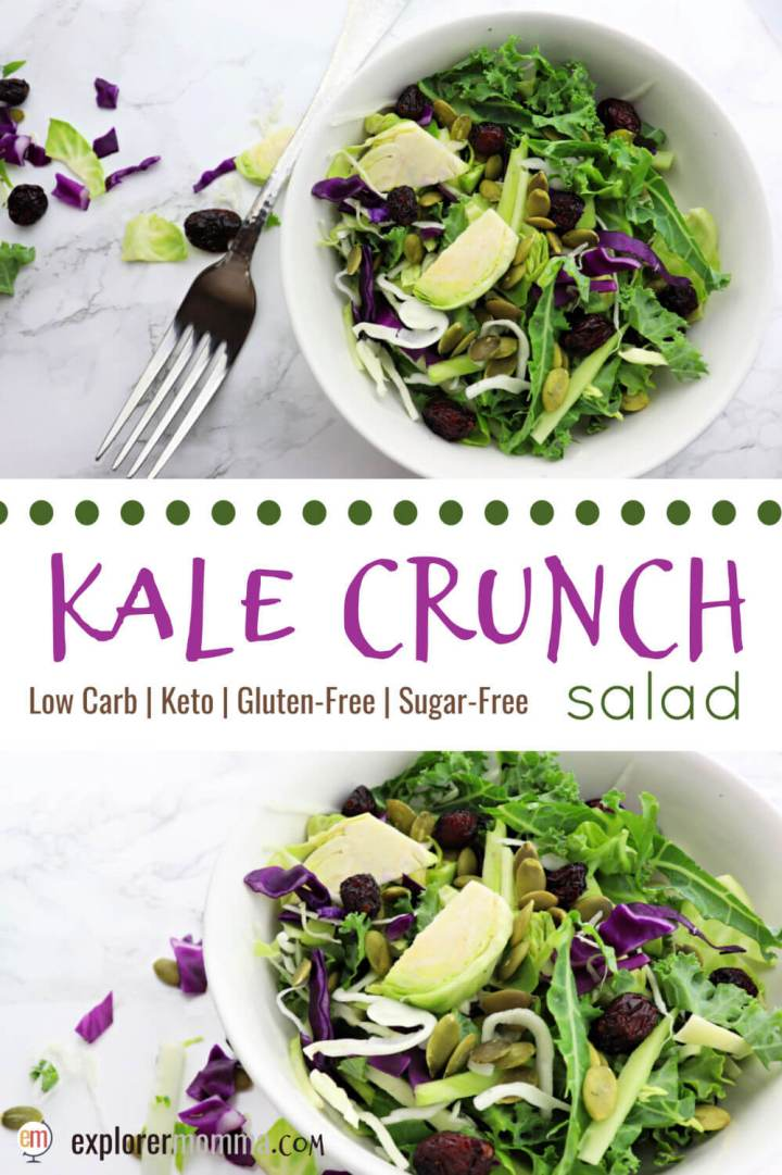 Delicious kale crunch salad is the perfect low carb side with lemon poppyseed keto salad dressing, pumpkin seed, and dried cranberries. A sweet healthy crunch for holiday dinners or parties. #kalesalad #ketosides #ketosalad