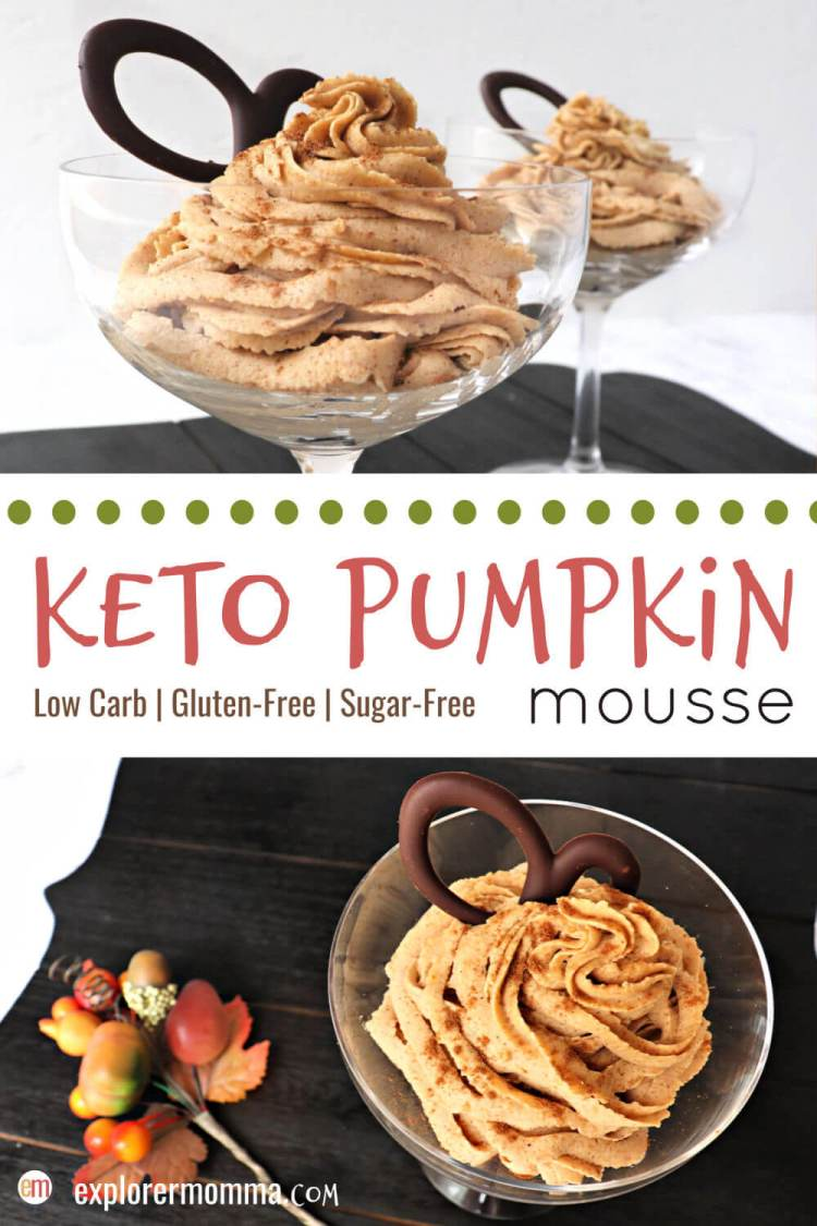 Quick and easy whipped keto pumpkin mousse is decadent low carb delight! Creamy mascarpone cheese, cream, pumpkin, and spices make this a pumpkin pie in a mousse. A sugar-free fall recipe everyone will love. #ketodessert #lowcarbpumpkinspice #pumpkinspice