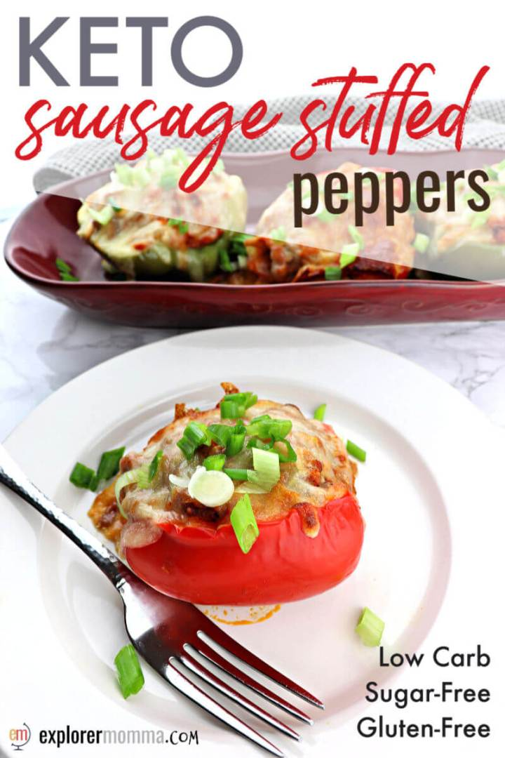 Flavorful keto sausage stuffed peppers are a delicious low carb dinner. Stuffed with sausage, cauliflower rice, marinara sauce, cheese, and more, it's a family-friendly and gluten-free, this is an easy recipe to meal-prep for a weeknight dinner. #ketodinnerrecipes #ketorecipes #lowcarbrecipesketo