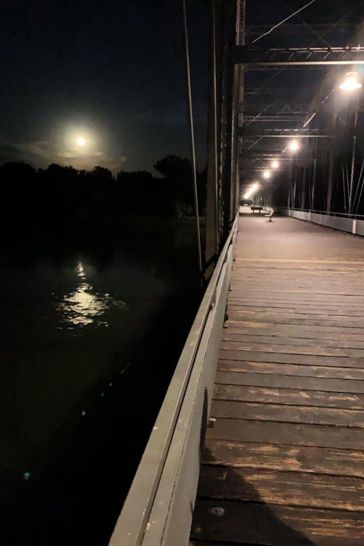 Old Fort Benton Bridge by night, Montana