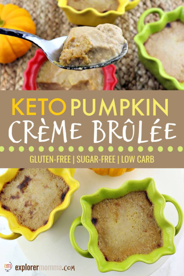 Delicious Pumpkin Keto Creme Brulee is one of those dessert impossible to refuse yet will make you feel good on a keto diet. Creamy, sugar-free custard is decadent and delicious. Try this fall low carb recipe today. #ketorecipes #lowcarbdesserts #lowcarbrecipesketo