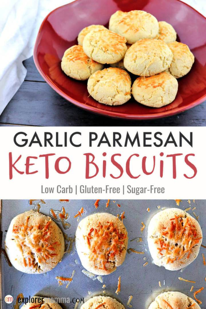 Almond flour garlic parmesan keto biscuits are perfectly suited to be a tasty gluten-free option at a holiday dinner or as a side with your soup or salad. Swap them out for your Easter or Christmas rolls and enjoy! #ketobread #ketorecipes #lowcarbbread