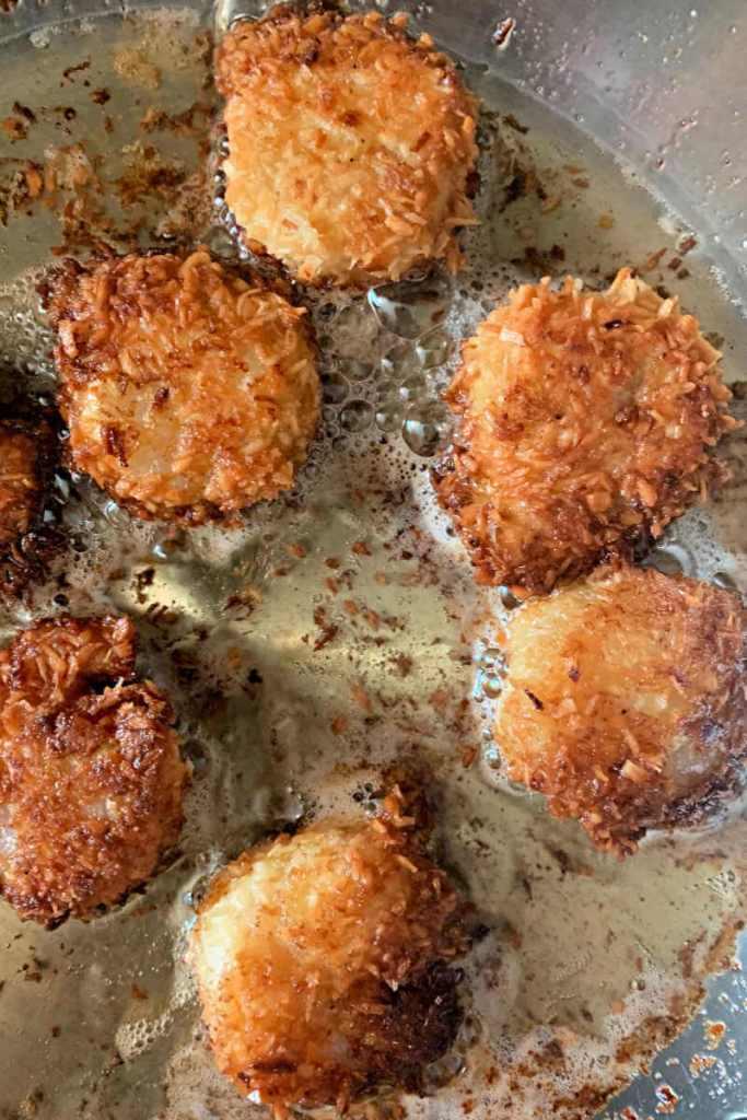 Keto coconut shrimp in the frying pan. #ketorecipes #glutenfreedinners