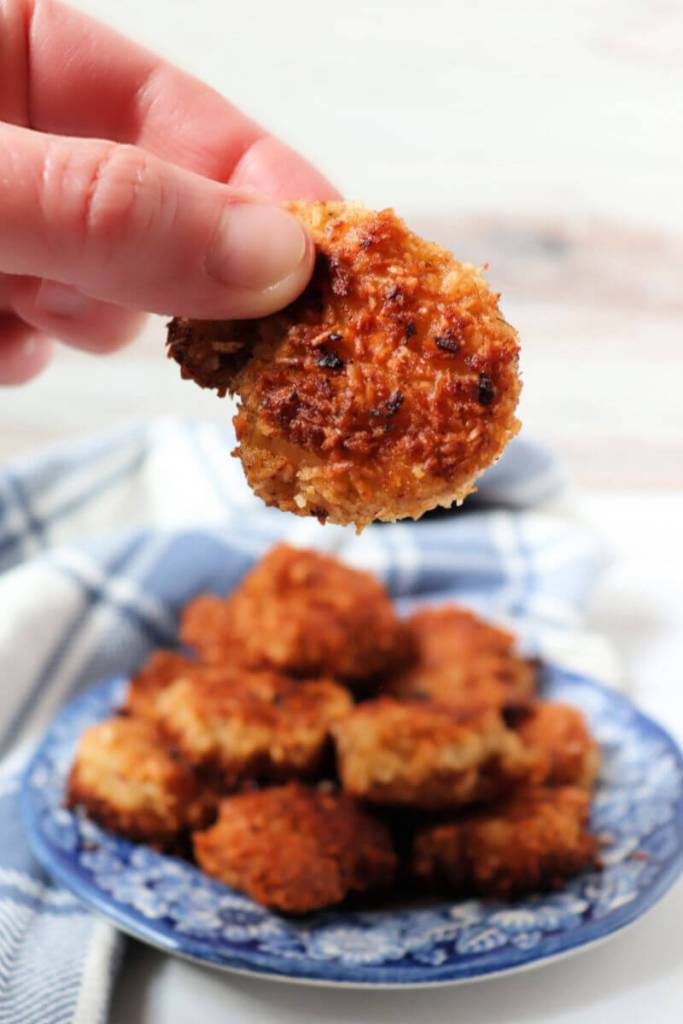 Delicious sweet keto coconut shrimp are gluten-free and sugar-free goodness. High protein and the perfect dinner on a keto diet. #ketorecipes #ketoshrimp