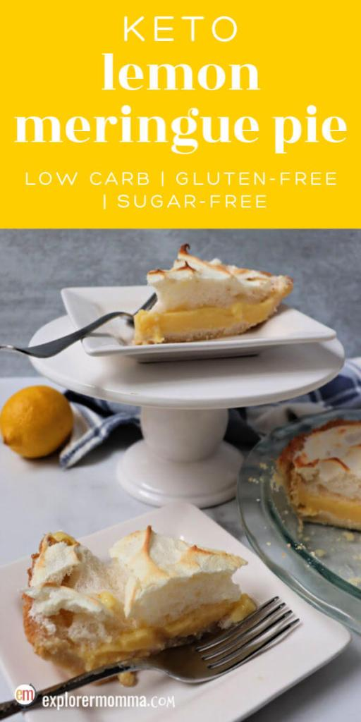 Delicious keto lemon meringue pie is the classic you remember redone with an almond flour crust and sugar-free filling. It's a low carb sweet yet tangy dessert, perfect for summer. #ketorecipes #ketodessertrecipes