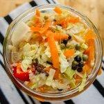 Haiti Pikliz with cabbage, carrot, pepper, clove, peas, in a mason jar