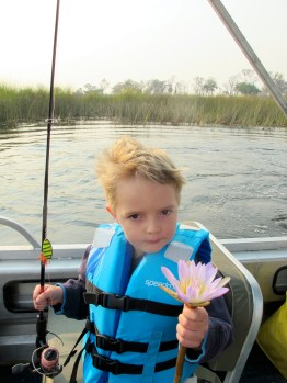 Master Sam with Okavango Lily flower