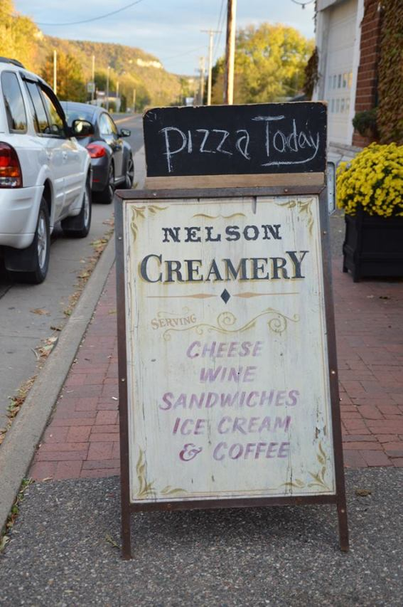 Sign at the entrance of Nelson Creamery.