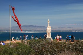 The statue honoring Juan Rodriguez Cabrillo stands high above the harbor he discovered on September 28, 1542.