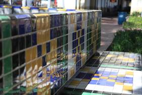Tiled benches on outside plaza