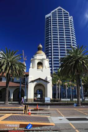 Santa Fe Depot with America Plaza in the background