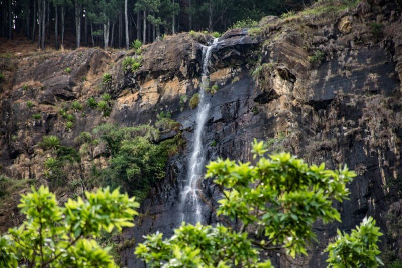 View of Bambarakanda Falls from far