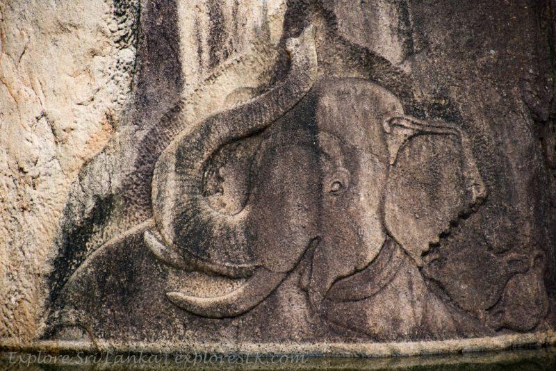 Elephant carving at Isurumuniya Temple
