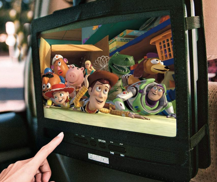 Car DVD Player on the back of a seat with Toy Story characters on the screen