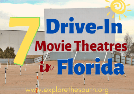 A drive in movie screen and speaker outside during the day