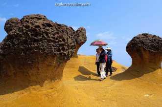 Honeycombed mushroom rocks are a wonder of nature at Yehliu Geopark in Taiwan