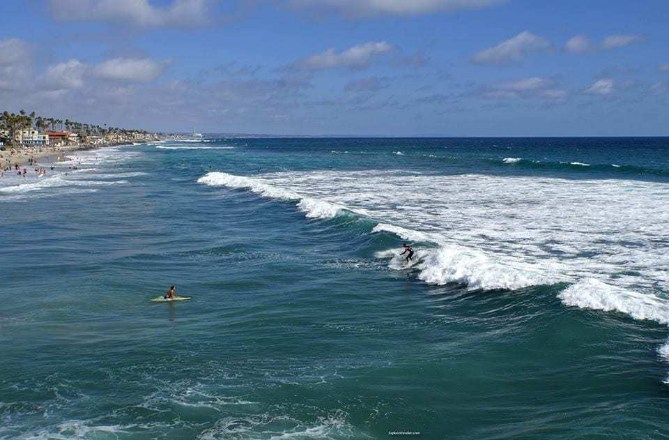 Fun In The Sun At Oceanside California USA - A group of people surfing in the ocean - Ocean