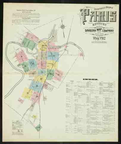 Insurance Maps Of Paris Bourbon County Kentucky