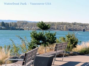 two benches for sitting and viewing the Columbia river at waterfront park