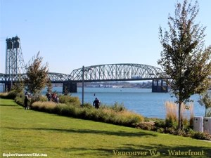 view of I-5 bridge from Waterfront Park