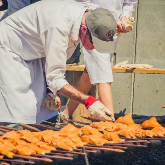Cooking Salmon at Salmon Bake 2018 Browns Point Washington