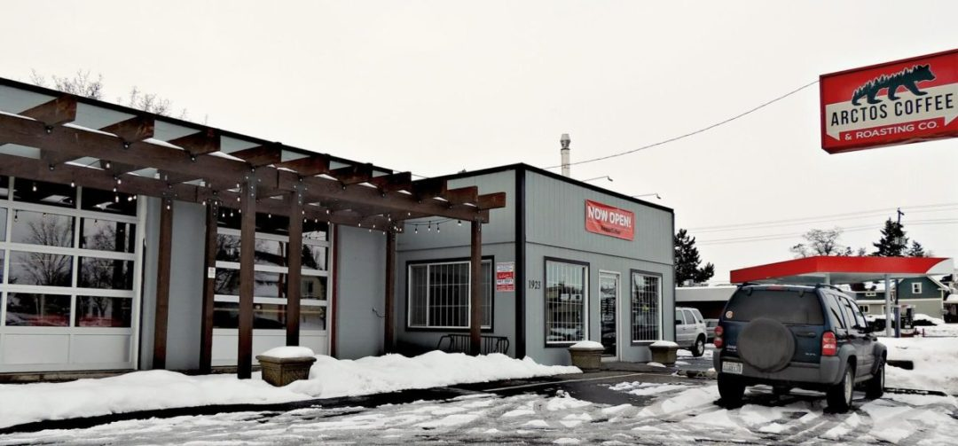 Arctos Coffee Shop View of front of shop with snow on ground