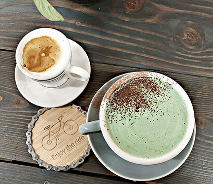 Pathfinder Cafe Coffee in ceramic mugs