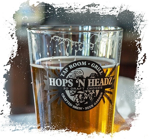 Hops and Headz Beer in glass