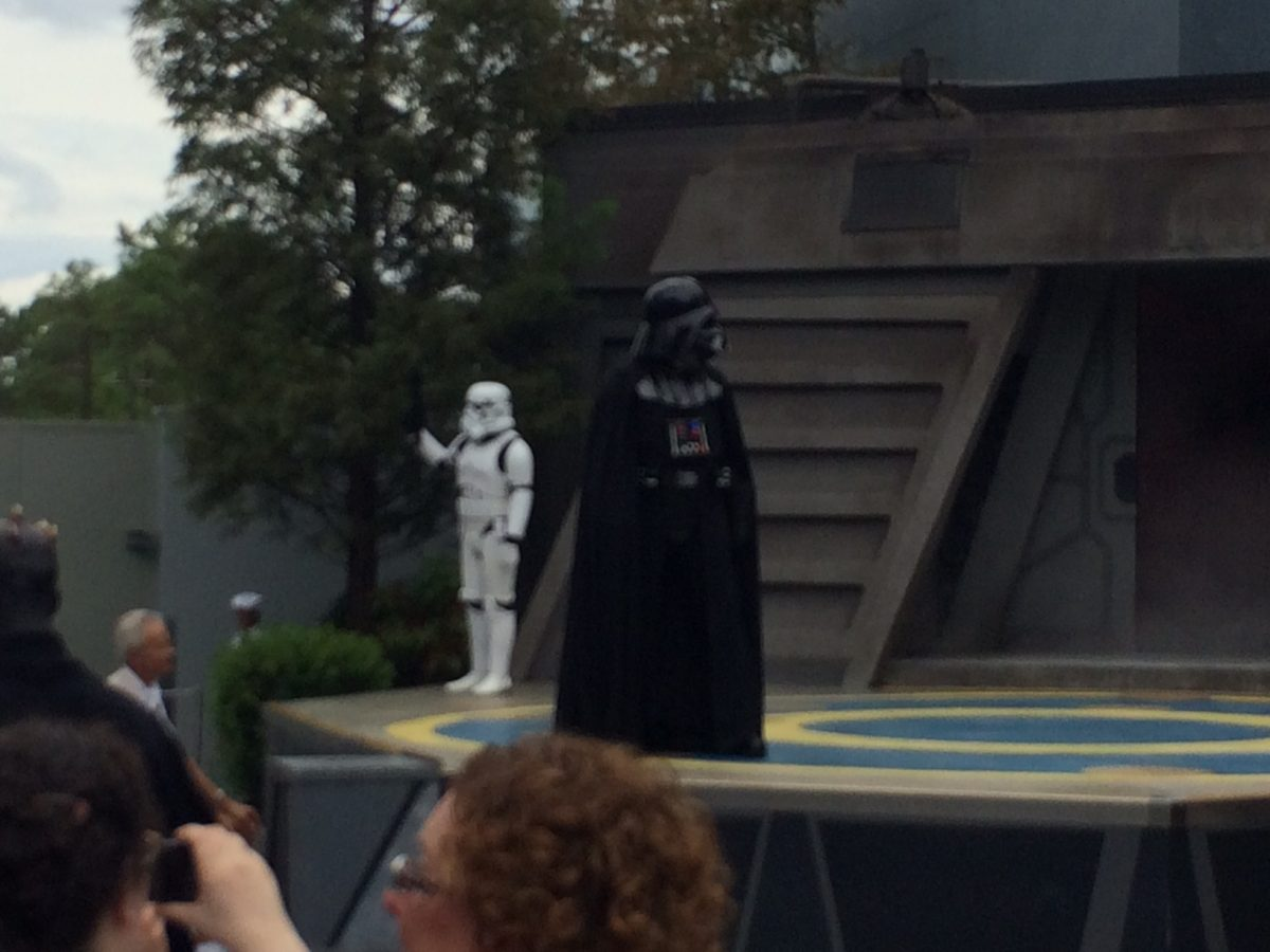 Darth Vader and a Storm Trooper on stage during the Jedi Training Academy