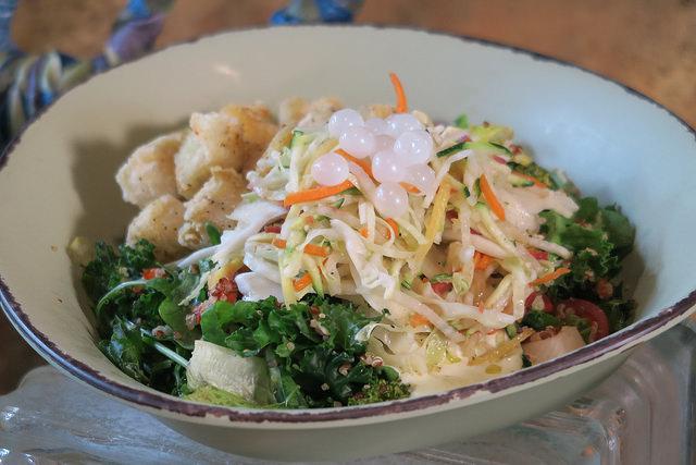 Chili-spiced Crispy Fried Tofu Bowl at Satu'li Canteen in Animal Kingdom