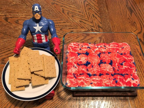 Captain America S'mores Dip - served with graham crackers and Captain America, of course...