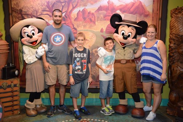 Meeting Mickey and Minnie inside Adventures Outpost at Animal Kingdom