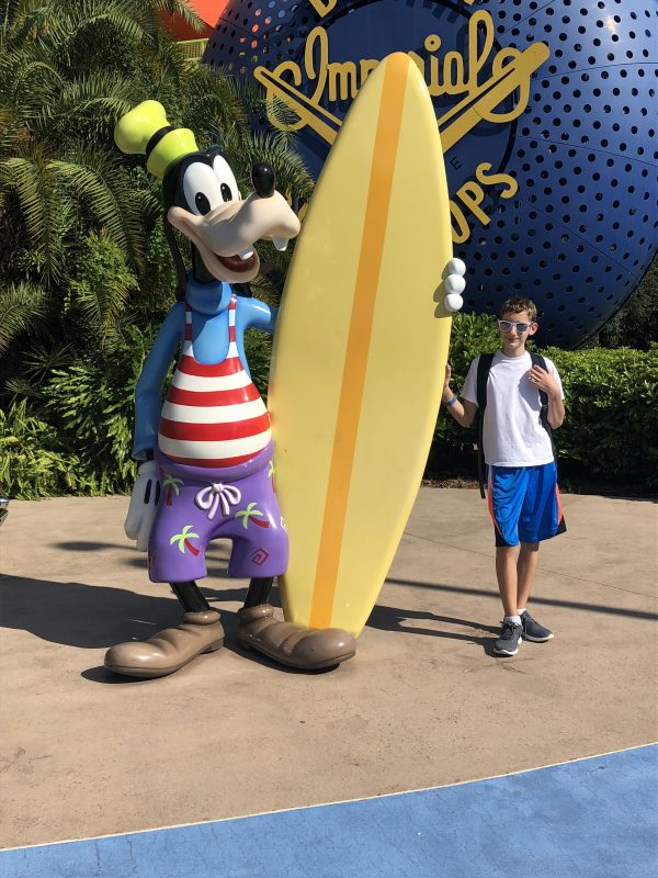Posing with Goofy at Disney's Pop Century