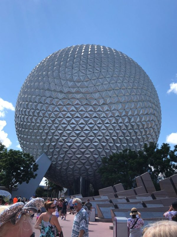 Spaceship Earth, in Epcot, as seen from the entrance.