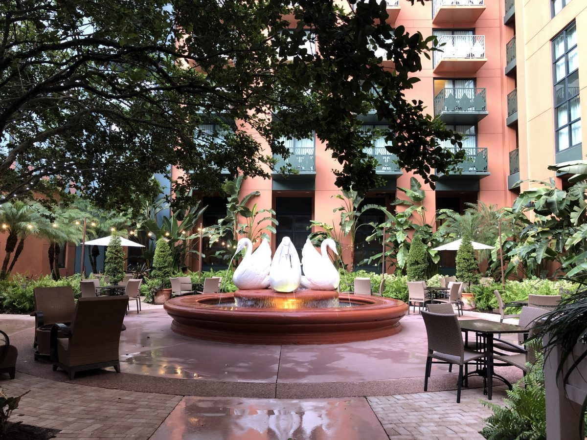 A fountain at the Disney Swan Hotel