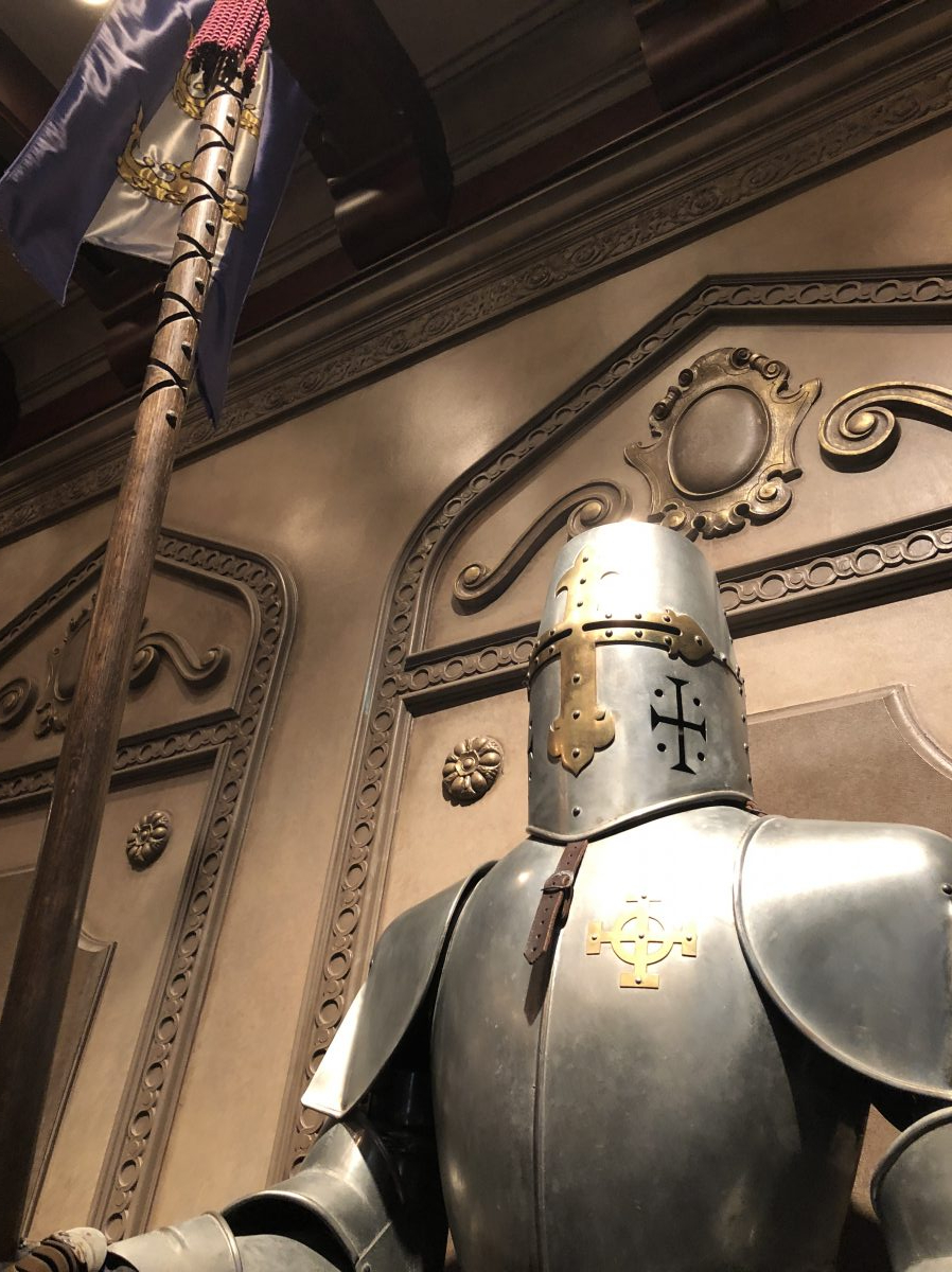 Knights guarding the hallways of Be Our Guest