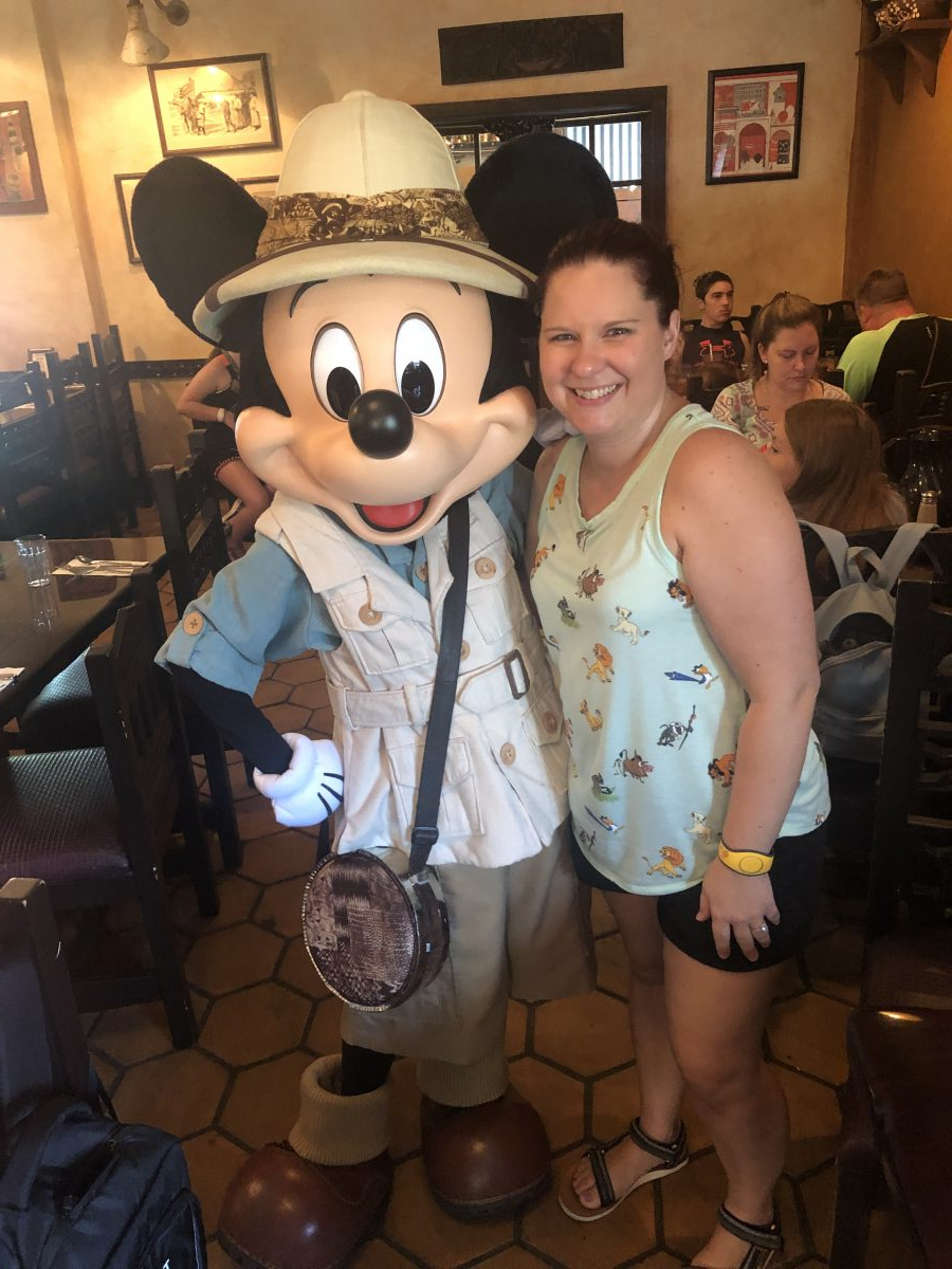 Meeting Mickey Mouse at Tusker House during Breakfast