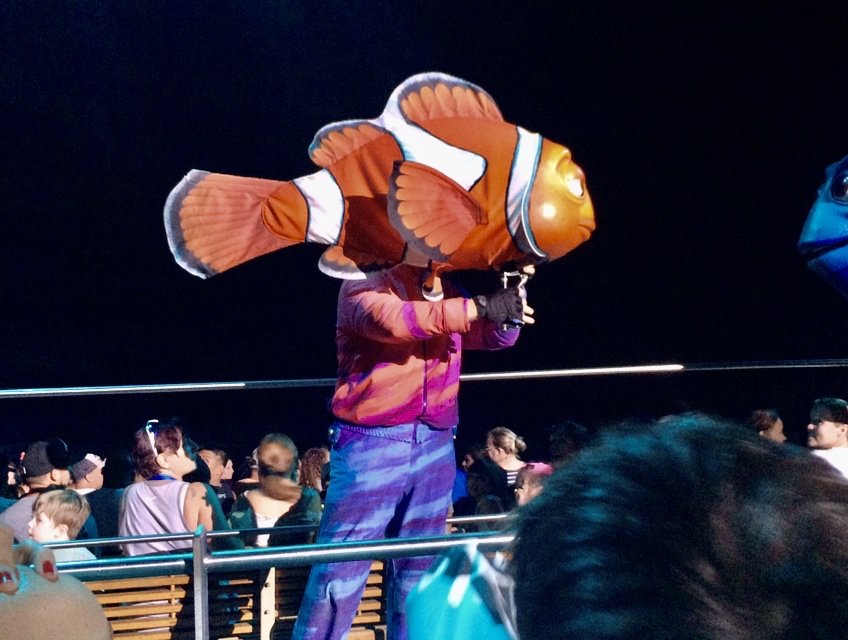 Marlin, the puppet, talking to Dory in the stage version of Finding Nemo, in Walt Disney World