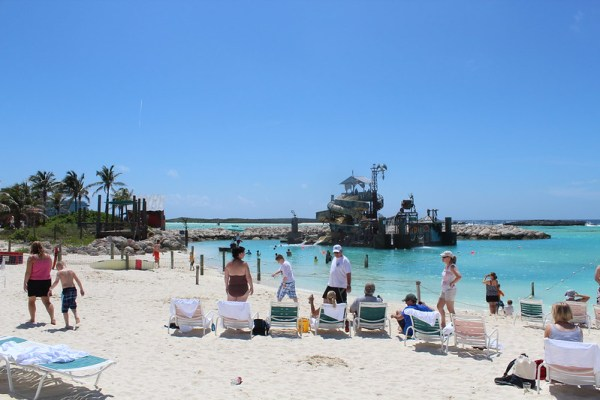 Families relaxing and having fun on Castaway Cay