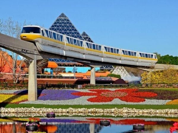 Monorail going through Epcot