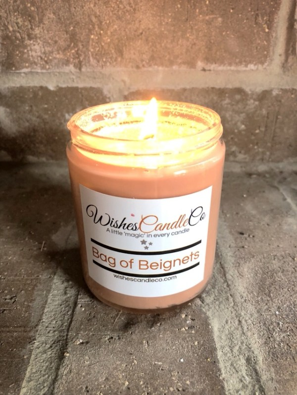 Lit candle from Wishes Candle Co