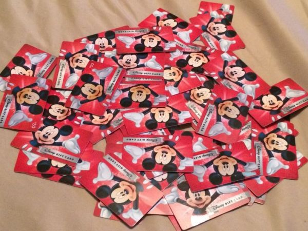 A pile of Disney Gift Cards