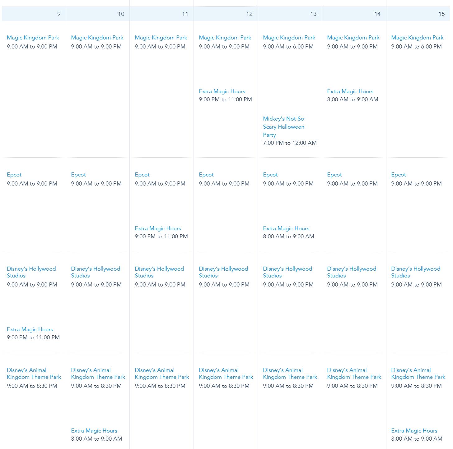 Walt Disney World Calendar