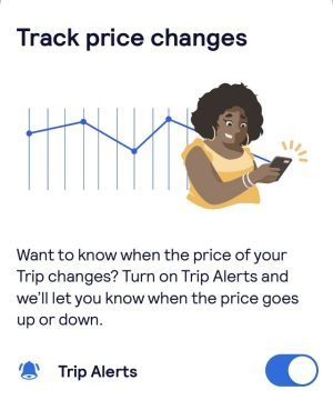 Using a Skyscanner App to track price changes