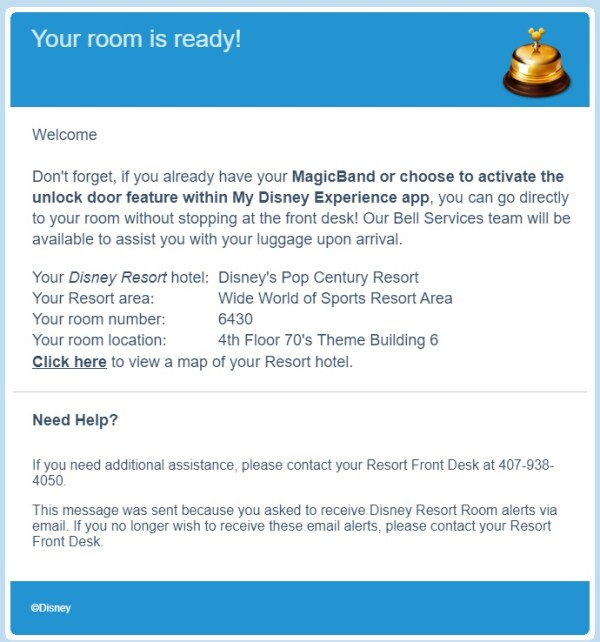 Sample of an email you'll receive to tell you your room is ready after using Online Check-in