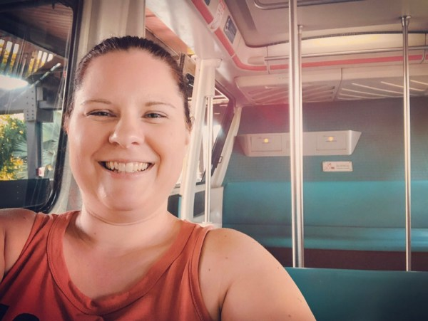 Taking a selfie on the Walt Disney World Monorail