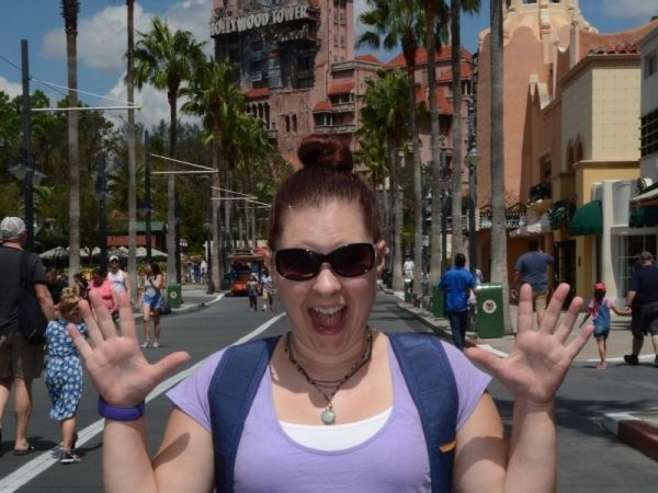 Posed PhotoPass photo in front of Tower of Terror
