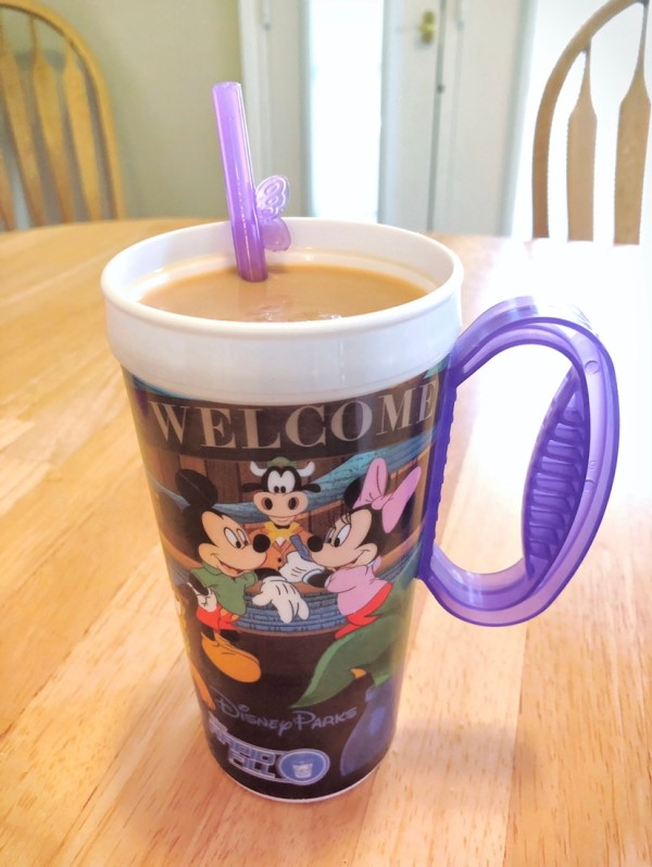 A Disney Reusable Cup of Joffrey's Iced Coffee and a Wondersip straw