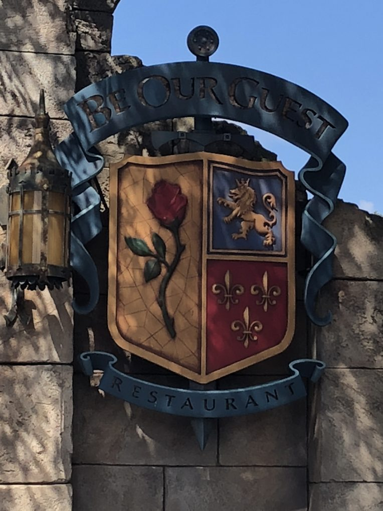 The sign for Be Our Guest in Magic Kingdom